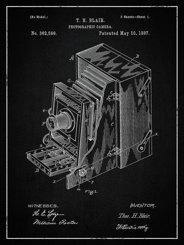 Vintage Camera Patent, 1887 - Art Print from Wallasso - The Wall Art Superstore