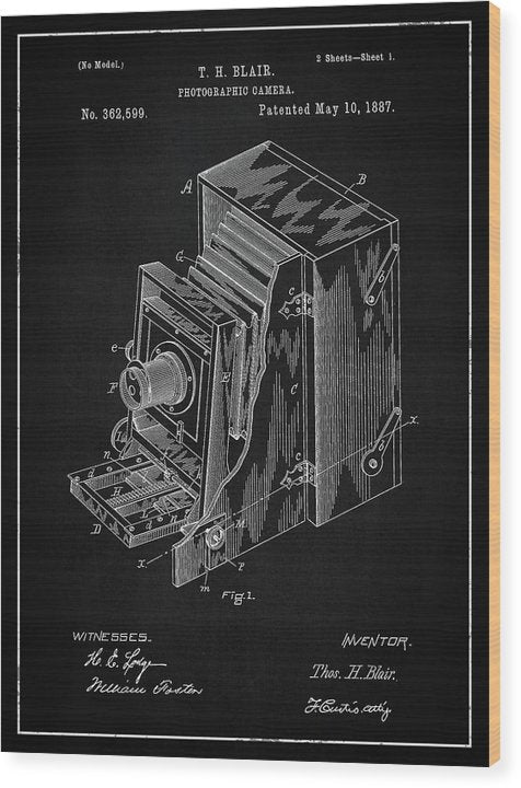 Vintage Camera Patent, 1887 - Wood Print from Wallasso - The Wall Art Superstore