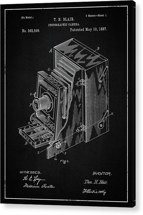 Vintage Camera Patent, 1887 - Acrylic Print from Wallasso - The Wall Art Superstore