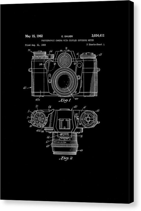 Vintage Camera Patent, 1962 - Canvas Print from Wallasso - The Wall Art Superstore