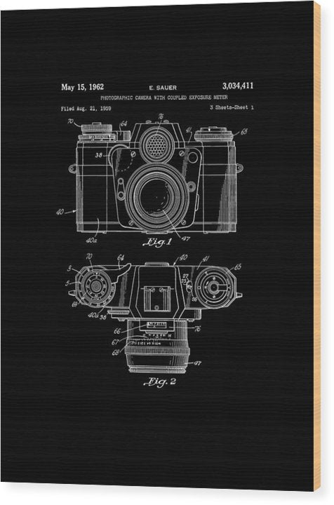 Vintage Camera Patent, 1962 - Wood Print from Wallasso - The Wall Art Superstore