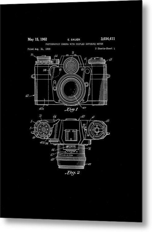 Vintage Camera Patent, 1962 - Metal Print from Wallasso - The Wall Art Superstore