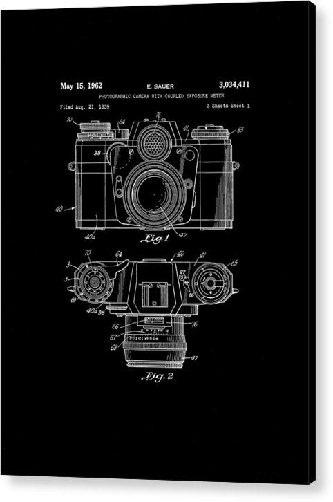 Vintage Camera Patent, 1962 - Acrylic Print from Wallasso - The Wall Art Superstore