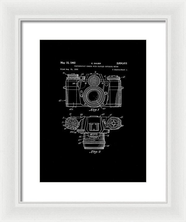 Vintage Camera Patent, 1962 - Framed Print from Wallasso - The Wall Art Superstore