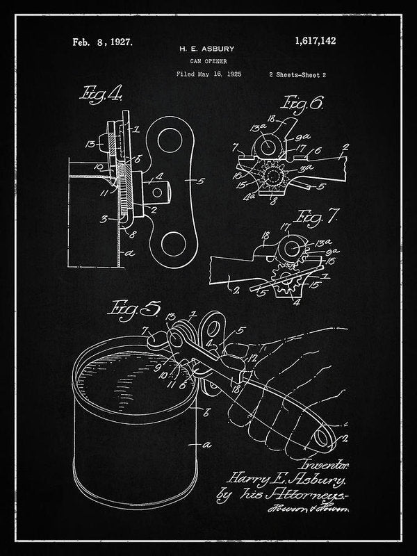 Vintage Can Opener Patent, 1927 - Art Print from Wallasso - The Wall Art Superstore