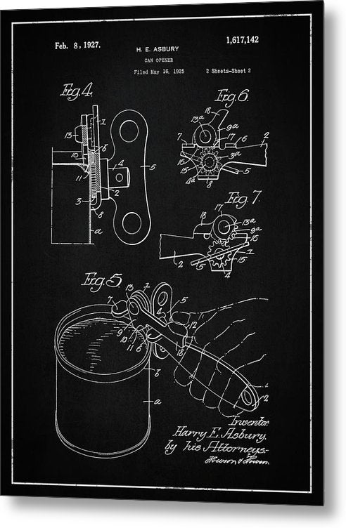 Vintage Can Opener Patent, 1927 - Metal Print from Wallasso - The Wall Art Superstore