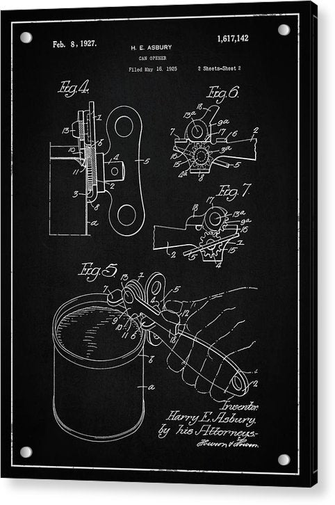 Vintage Can Opener Patent, 1927 - Acrylic Print from Wallasso - The Wall Art Superstore