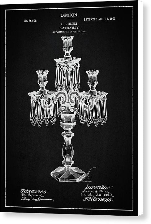 Vintage Candelabra Patent, 1903 - Canvas Print from Wallasso - The Wall Art Superstore