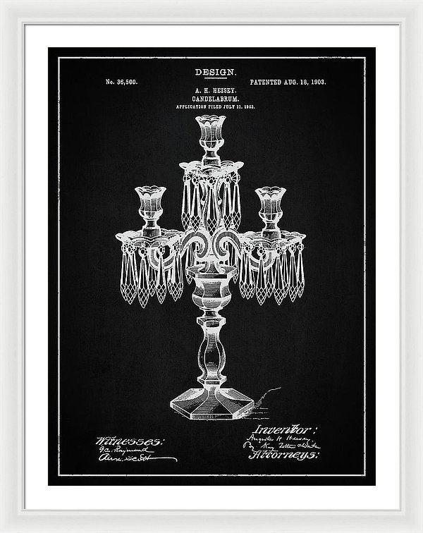 Vintage Candelabra Patent, 1903 - Framed Print from Wallasso - The Wall Art Superstore