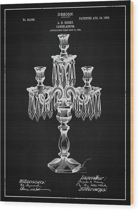 Vintage Candelabra Patent, 1903 - Wood Print from Wallasso - The Wall Art Superstore