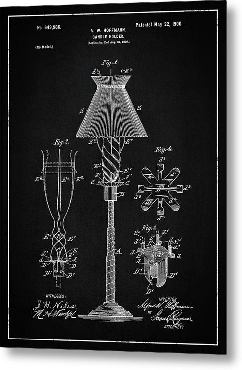 Vintage Candle Holder Patent, 1900 - Metal Print from Wallasso - The Wall Art Superstore