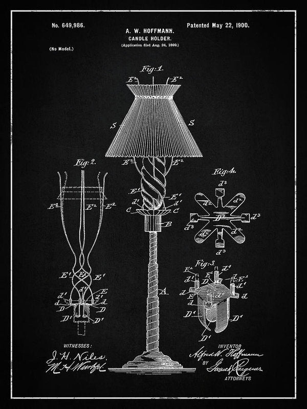 Vintage Candle Holder Patent, 1900 - Art Print from Wallasso - The Wall Art Superstore