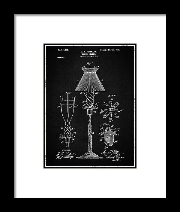 Vintage Candle Holder Patent, 1900 - Framed Print from Wallasso - The Wall Art Superstore