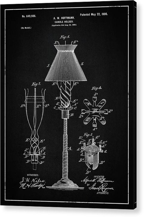 Vintage Candle Holder Patent, 1900 - Acrylic Print from Wallasso - The Wall Art Superstore