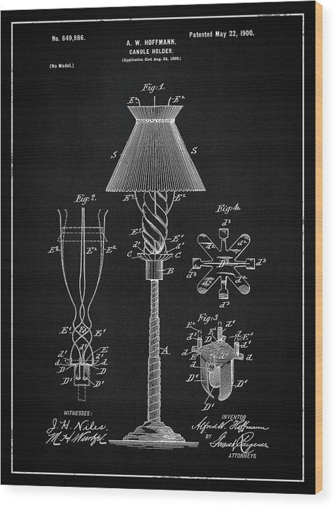 Vintage Candle Holder Patent, 1900 - Wood Print from Wallasso - The Wall Art Superstore