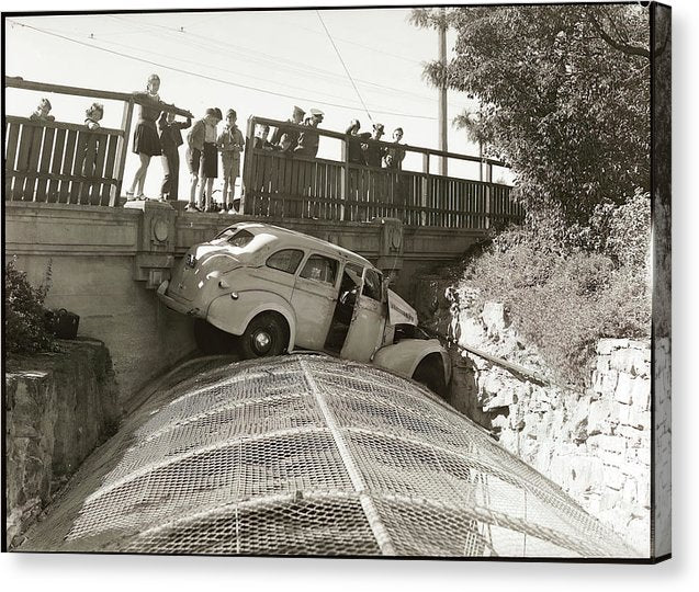 Vintage Car Crash off Bridge - Canvas Print from Wallasso - The Wall Art Superstore