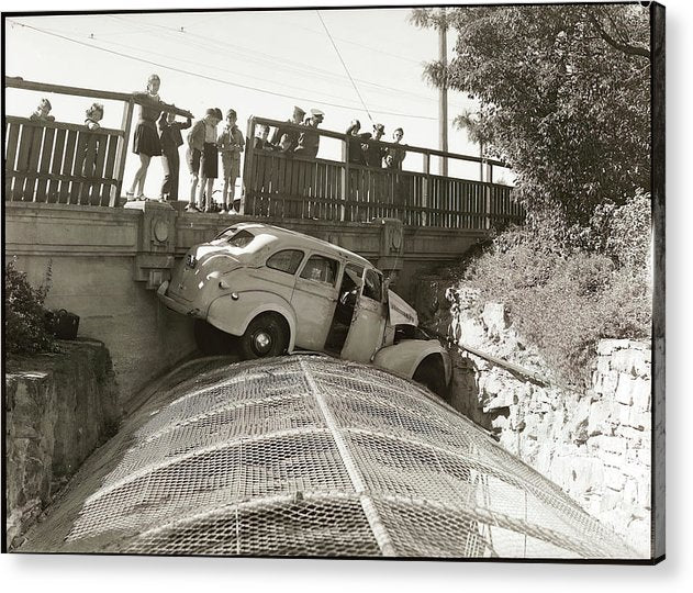 Vintage Car Crash off Bridge - Acrylic Print from Wallasso - The Wall Art Superstore
