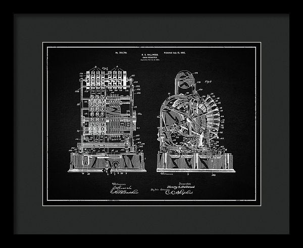 Vintage Cash Register Patent, 1902 - Framed Print from Wallasso - The Wall Art Superstore