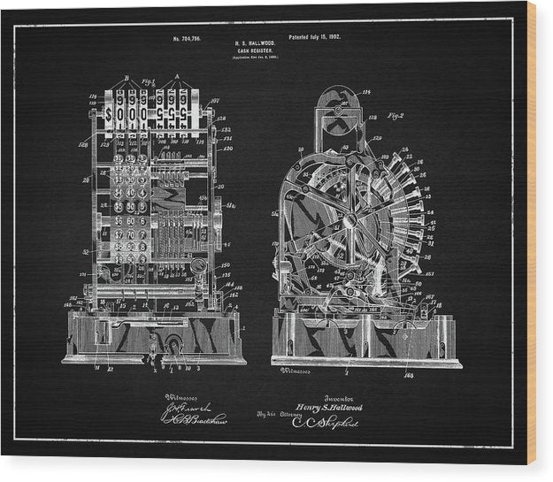Vintage Cash Register Patent, 1902 - Wood Print from Wallasso - The Wall Art Superstore