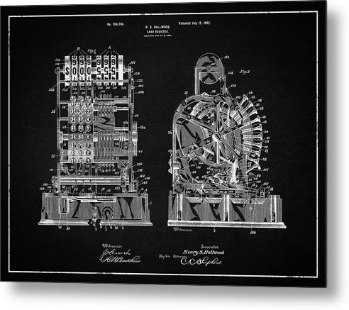 Vintage Cash Register Patent, 1902 - Metal Print from Wallasso - The Wall Art Superstore