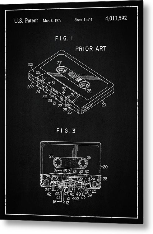 Vintage Cassette Tape Patent, 1977 - Metal Print from Wallasso - The Wall Art Superstore