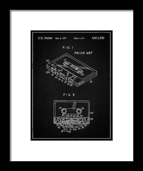 Vintage Cassette Tape Patent, 1977 - Framed Print from Wallasso - The Wall Art Superstore