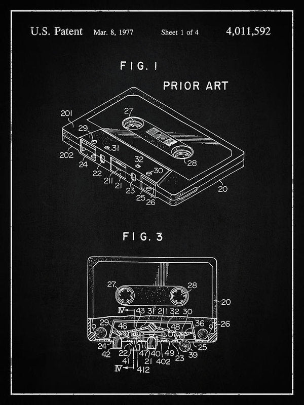 Vintage Cassette Tape Patent, 1977 - Art Print from Wallasso - The Wall Art Superstore