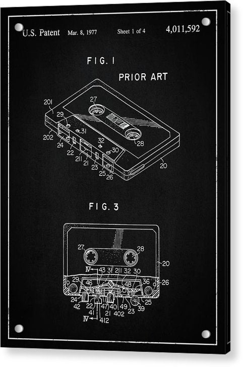 Vintage Cassette Tape Patent, 1977 - Acrylic Print from Wallasso - The Wall Art Superstore