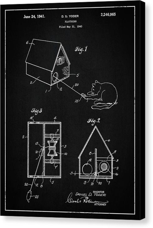 Vintage Cat Toy Patent, 1940 - Canvas Print from Wallasso - The Wall Art Superstore