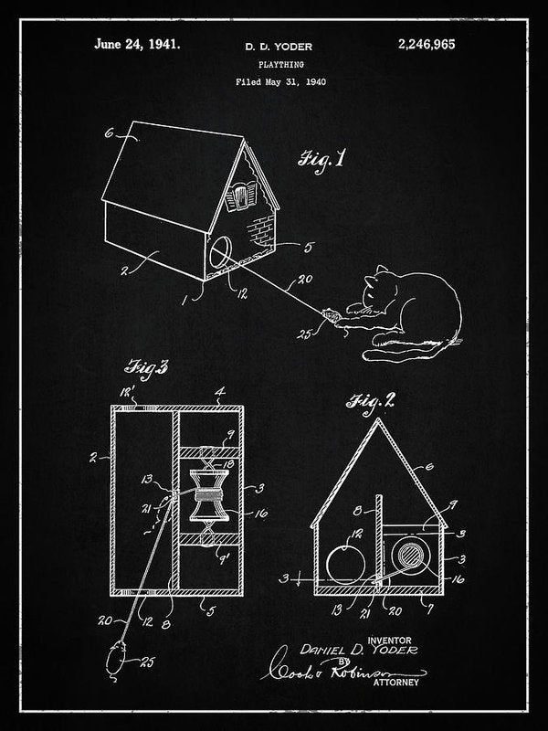 Vintage Cat Toy Patent, 1940 - Art Print from Wallasso - The Wall Art Superstore