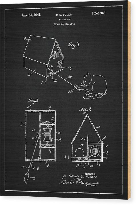 Vintage Cat Toy Patent, 1940 - Wood Print from Wallasso - The Wall Art Superstore