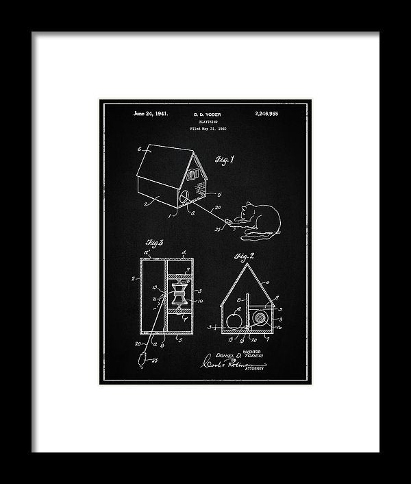 Vintage Cat Toy Patent, 1940 - Framed Print from Wallasso - The Wall Art Superstore