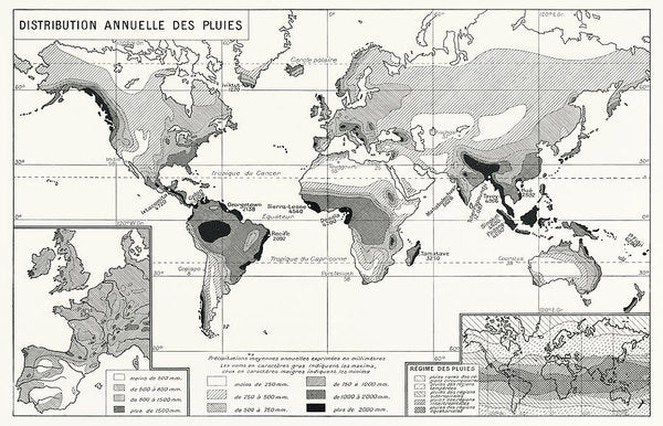 Vintage Chart of Worldwide Annual Rainfall Distribution - Art Print from Wallasso - The Wall Art Superstore