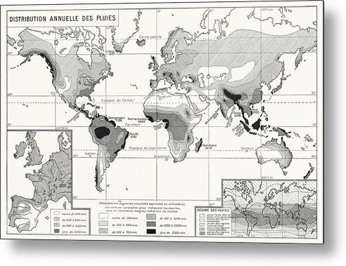 Vintage Chart of Worldwide Annual Rainfall Distribution - Metal Print from Wallasso - The Wall Art Superstore