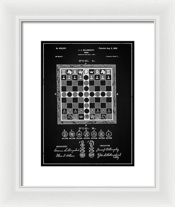 Vintage Chess Game Patent, 1899 - Framed Print from Wallasso - The Wall Art Superstore