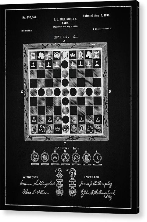 Vintage Chess Game Patent, 1899 - Acrylic Print from Wallasso - The Wall Art Superstore