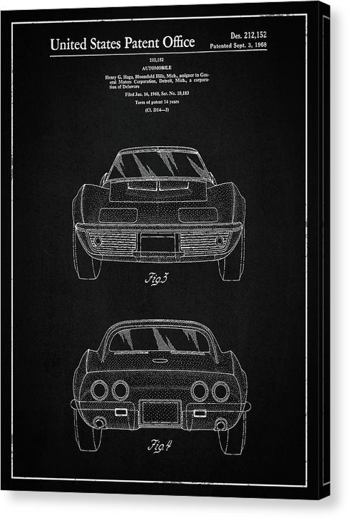 Vintage Chevrolet Corvette Patent, 1968 - Canvas Print from Wallasso - The Wall Art Superstore