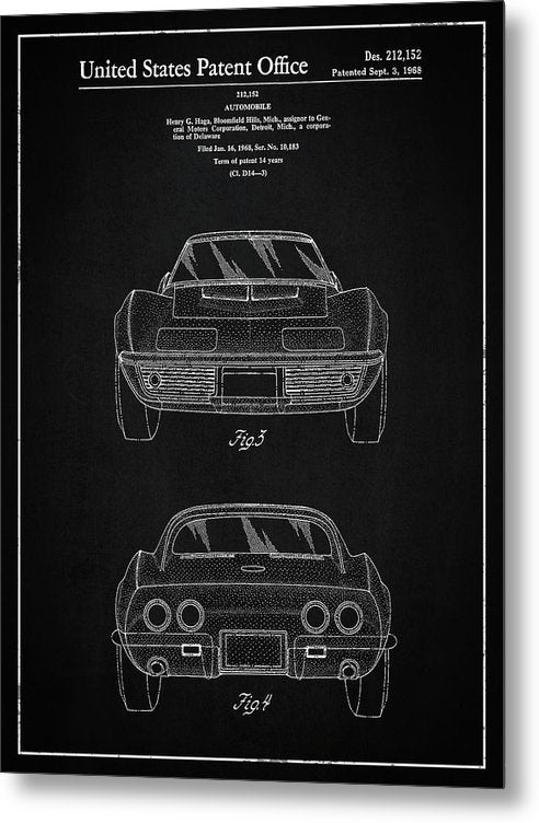 Vintage Chevrolet Corvette Patent, 1968 - Metal Print from Wallasso - The Wall Art Superstore