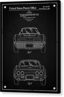 Vintage Chevrolet Corvette Patent, 1968 - Acrylic Print from Wallasso - The Wall Art Superstore