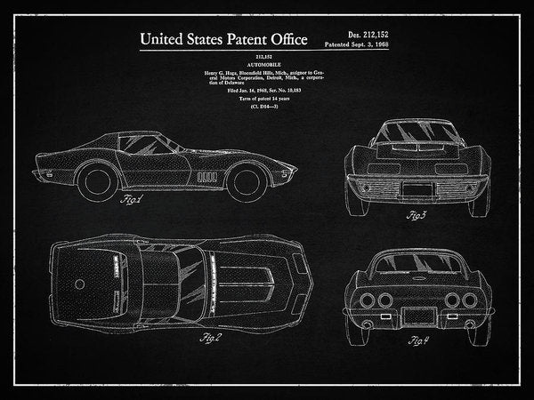 Vintage Chevrolet Corvette Patent, 1968 - Art Print from Wallasso - The Wall Art Superstore