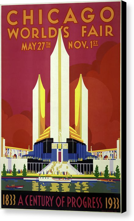Vintage Chicago Worlds Fair Poster, 1933 - Canvas Print from Wallasso - The Wall Art Superstore