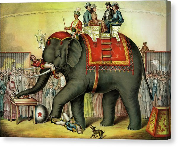Vintage Circus Illustration, People Riding Elephant - Canvas Print from Wallasso - The Wall Art Superstore