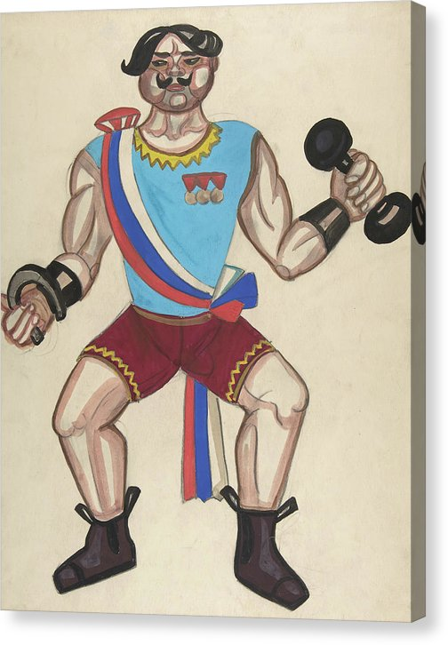 Vintage Circus Strong Man Illustration - Canvas Print from Wallasso - The Wall Art Superstore