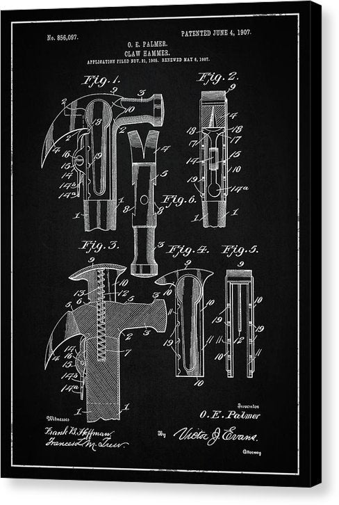 Vintage Claw Hammer Patent, 1907 - Canvas Print from Wallasso - The Wall Art Superstore