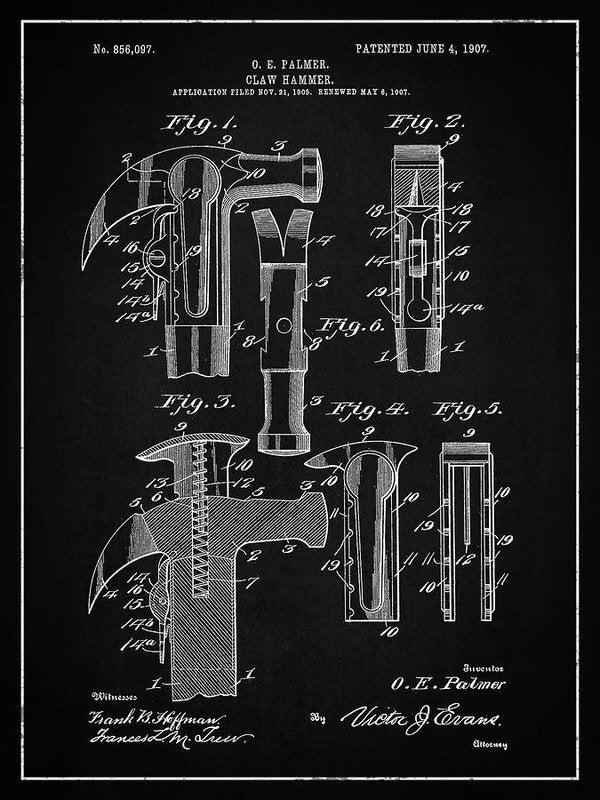 Vintage Claw Hammer Patent, 1907 - Art Print from Wallasso - The Wall Art Superstore
