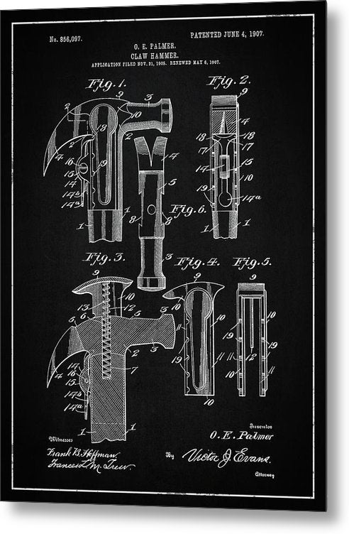 Vintage Claw Hammer Patent, 1907 - Metal Print from Wallasso - The Wall Art Superstore