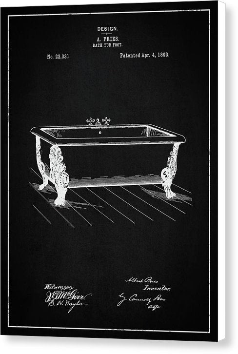 Vintage Clawfoot Bathtub Patent, 1893 - Canvas Print from Wallasso - The Wall Art Superstore