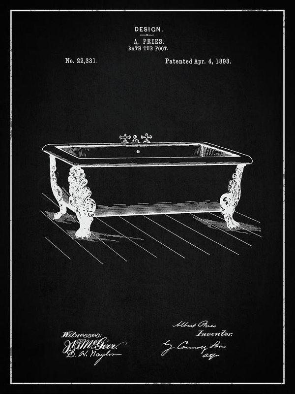 Vintage Clawfoot Bathtub Patent, 1893 - Art Print from Wallasso - The Wall Art Superstore