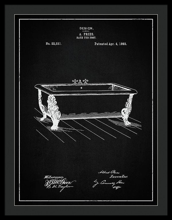 Vintage Clawfoot Bathtub Patent, 1893 - Framed Print from Wallasso - The Wall Art Superstore