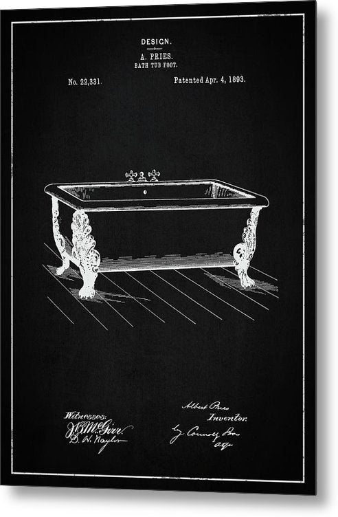 Vintage Clawfoot Bathtub Patent, 1893 - Metal Print from Wallasso - The Wall Art Superstore